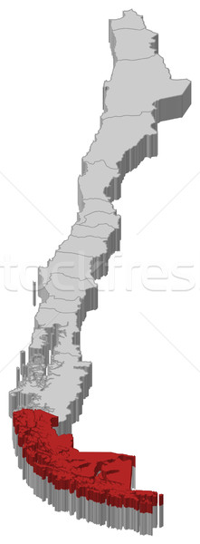 Stock photo: Map of Chile, Magellan and Chilean Antarctica highlighted
