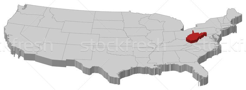 Stock fotó: Térkép · Egyesült · Államok · Nyugat-Virginia · politikai · néhány · absztrakt