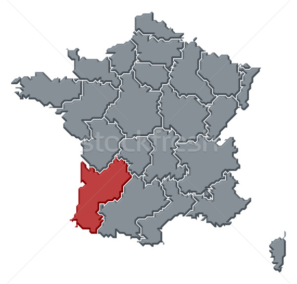 Map of France, Aquitaine highlighted Stock photo © Schwabenblitz