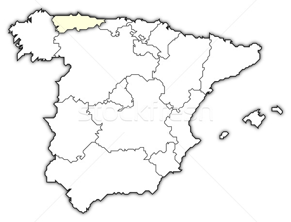Map of Spain, Asturias highlighted Stock photo © Schwabenblitz