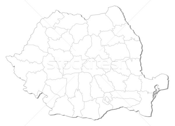 Hartă Romania Politic Abstract Fundal Ilustratie