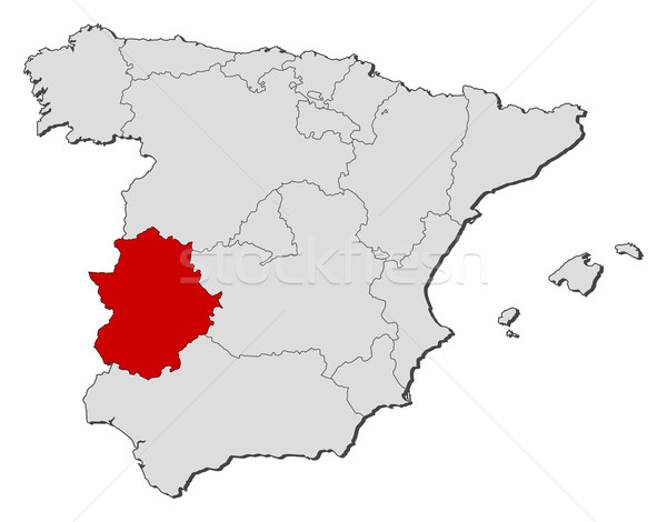 Map Of Spain Extremadura.Map Of Spain Extremadura Highlighted Vector Illustration C Steffen