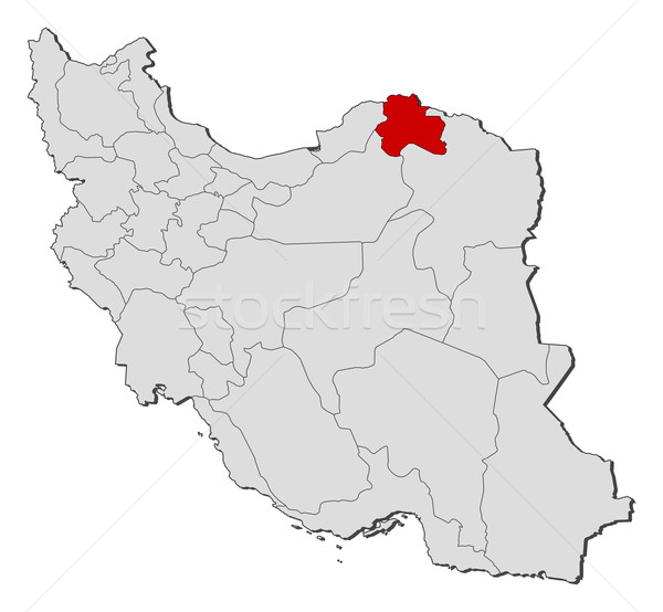 Stock photo: Map of Iran, North Khorasan highlighted