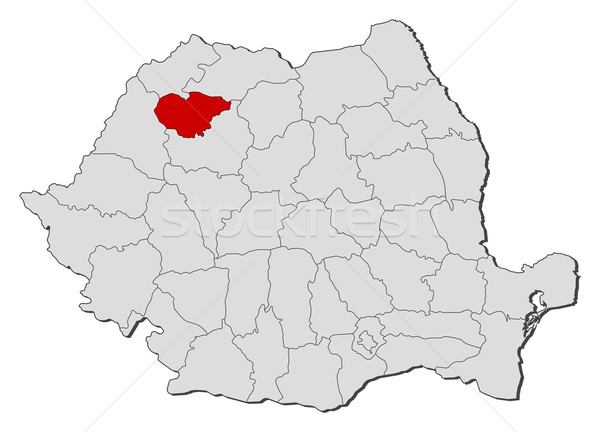 Map of Romania, Salaj highlighted Stock photo © Schwabenblitz