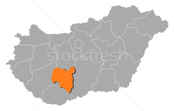 Map of Hungary, Tolna highlighted Stock photo © Schwabenblitz