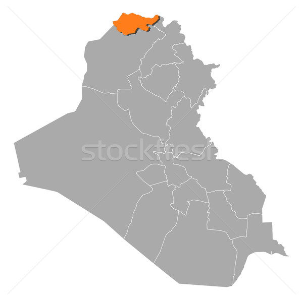 Map of Iraq, Dohuk highlighted Stock photo © Schwabenblitz