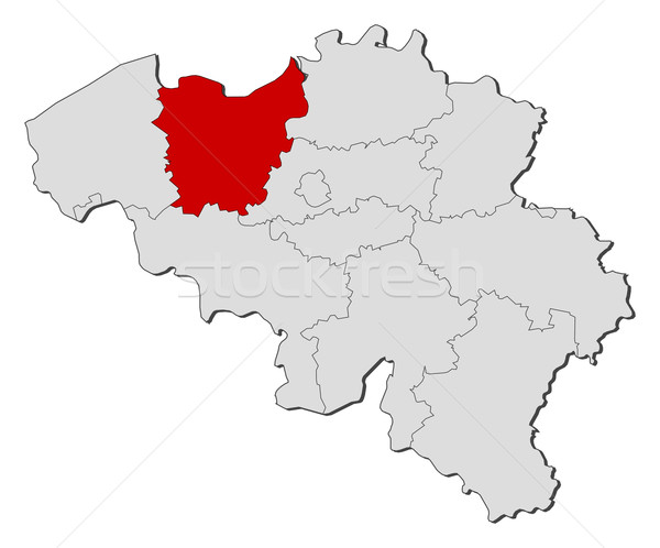 Stock photo: Map of Belgium, East Flanders highlighted