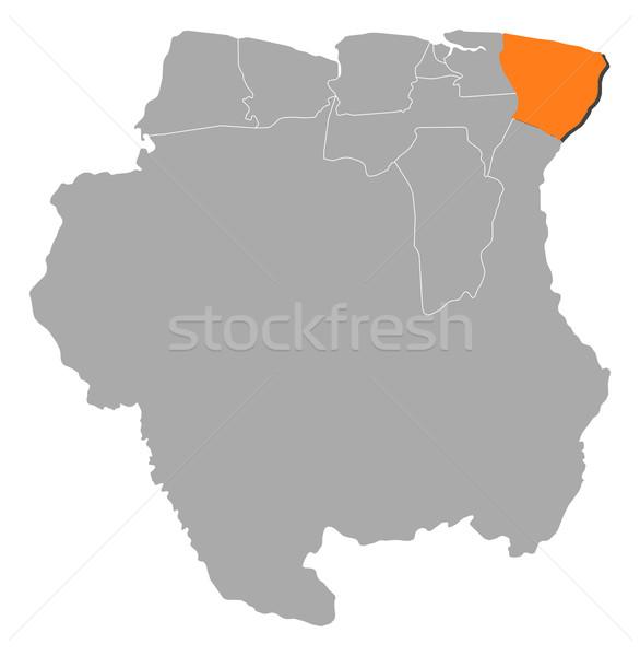 Map of Suriname, Marowijne highlighted Stock photo © Schwabenblitz