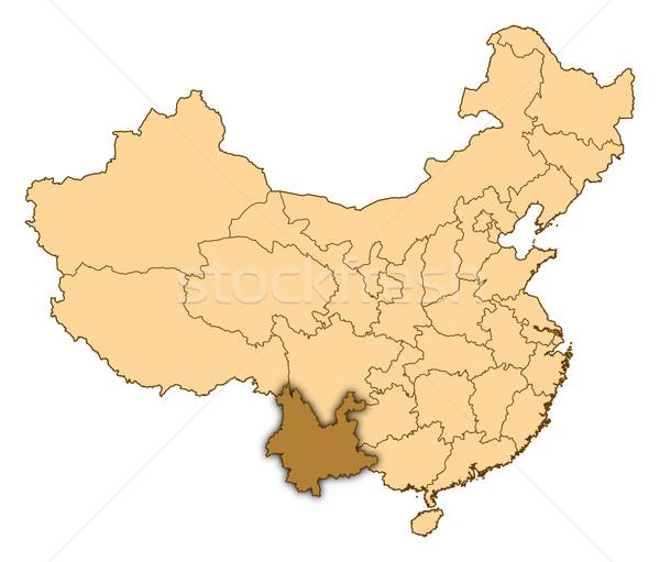 Map of China, Yunnan highlighted Stock photo © Schwabenblitz