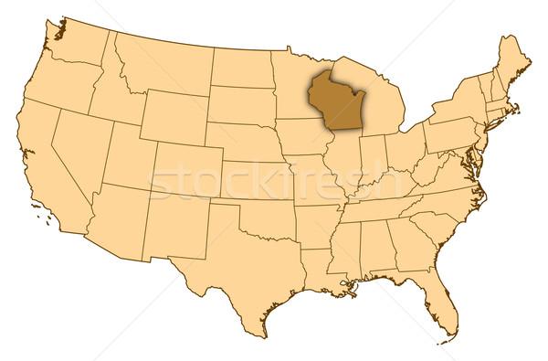 Carte États-Unis Wisconsin résumé fond communication Photo stock © Schwabenblitz