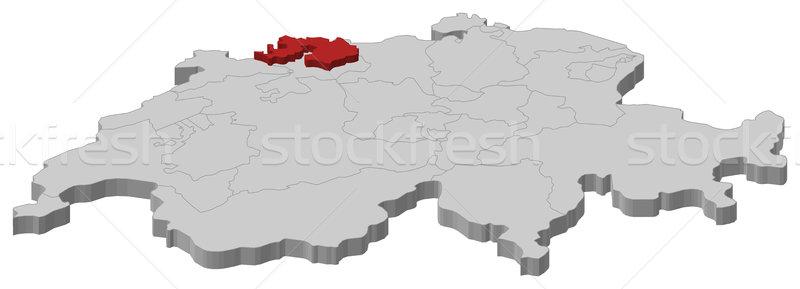Map of Swizerland, Basel-Landschaft highlighted Stock photo © Schwabenblitz