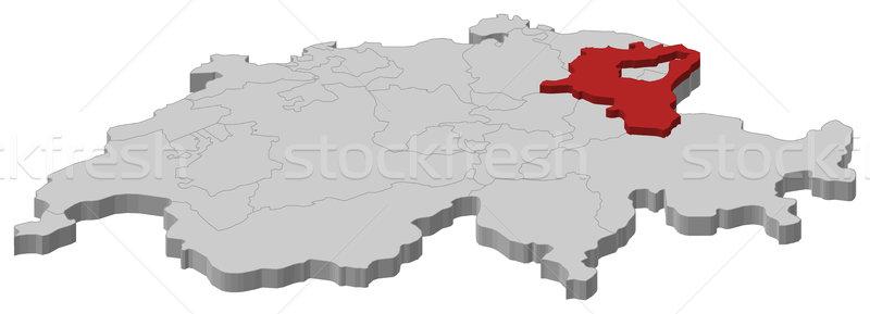 Map of Swizerland, St. Gallen highlighted Stock photo © Schwabenblitz
