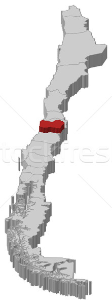 Map of Chile, O'Higgins highlighted Stock photo © Schwabenblitz