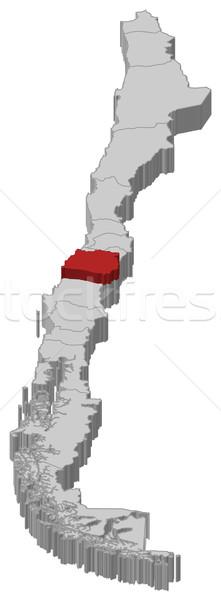 Map of Chile, Maule highlighted Stock photo © Schwabenblitz