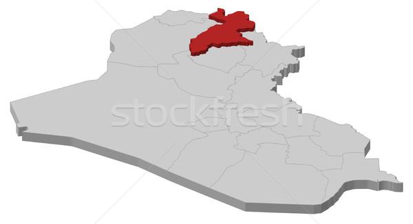 Map of Iraq, Arbil highlighted Stock photo © Schwabenblitz