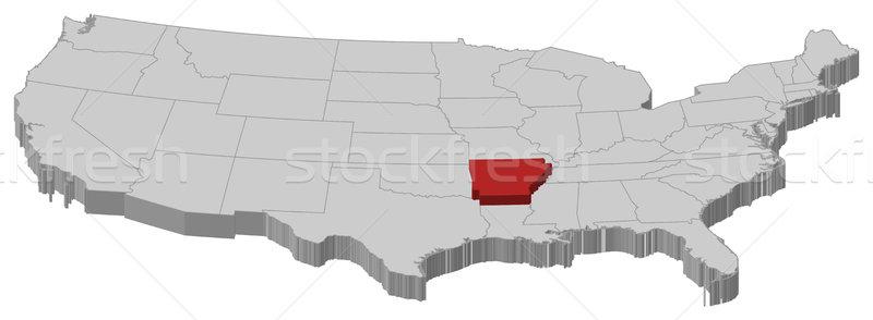Foto stock: Mapa · Estados · Unidos · Arkansas · político · vários · abstrato