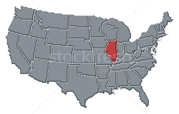 карта Соединенные Штаты Иллинойс политический несколько аннотация Сток-фото © Schwabenblitz