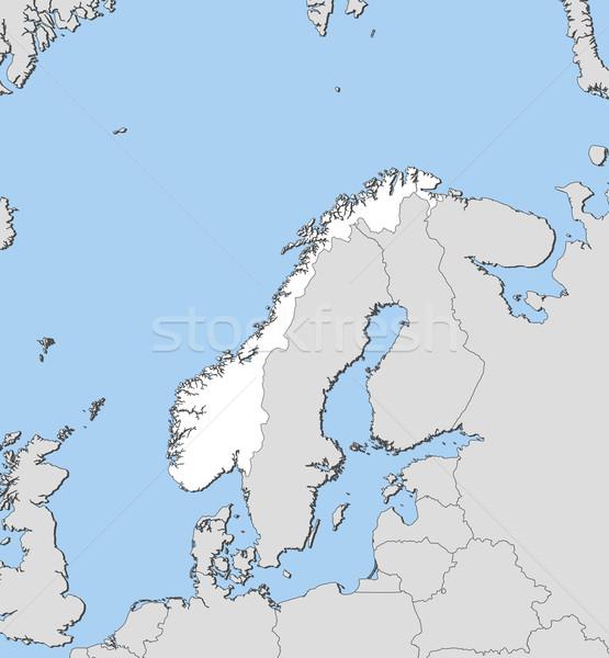 ストックフォト: 地図 · ノルウェー · 政治的 · いくつかの · 抽象的な · 世界