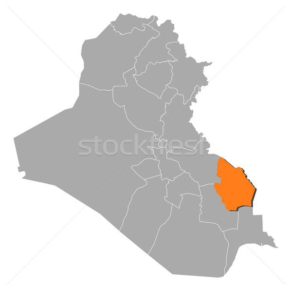 Map of Iraq, Maysan highlighted Stock photo © Schwabenblitz