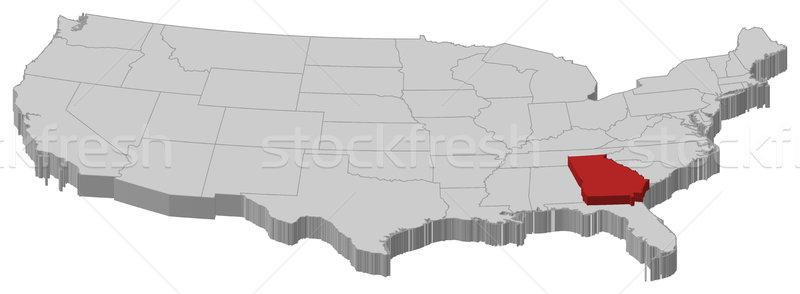Térkép Egyesült Államok Grúzia politikai néhány absztrakt Stock fotó © Schwabenblitz