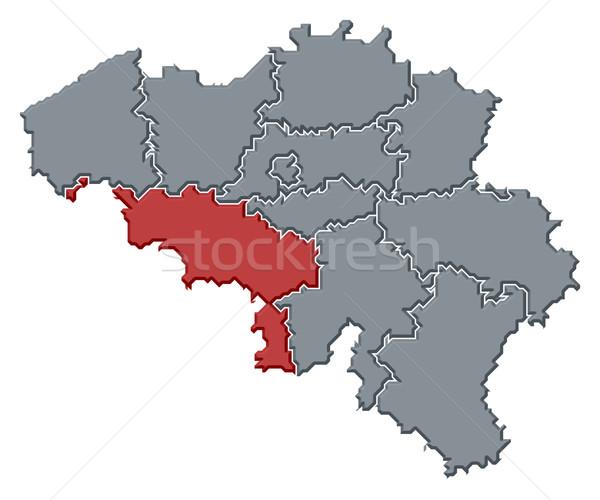 Stock photo: Map of Belgium, Hainaut highlighted
