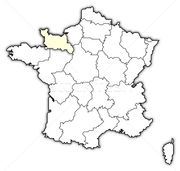 Map of France, Lower Normandy highlighted Stock photo © Schwabenblitz