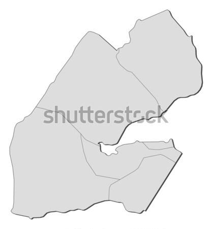 Foto stock: Mapa · Djibouti · político · regiones · resumen