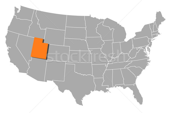 Map of the United States Utah highlighted vector illustration