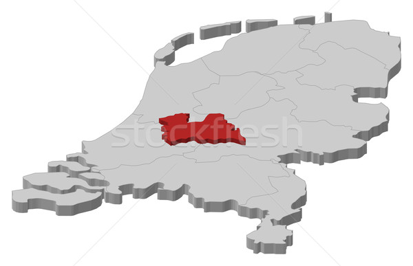 Map of Netherlands, Utrecht highlighted Stock photo © Schwabenblitz
