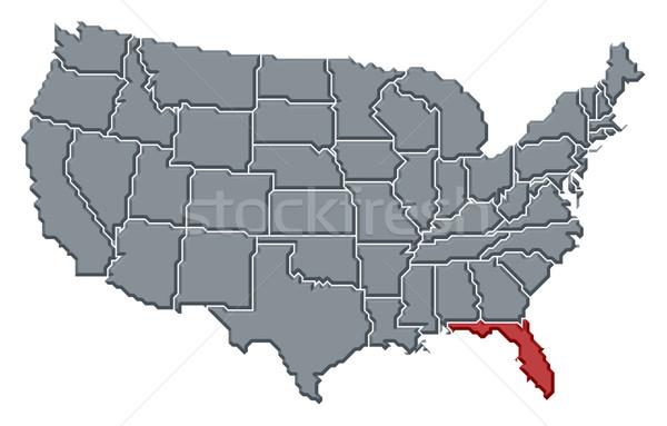 Map of the United States, Florida highlighted Stock photo © Schwabenblitz