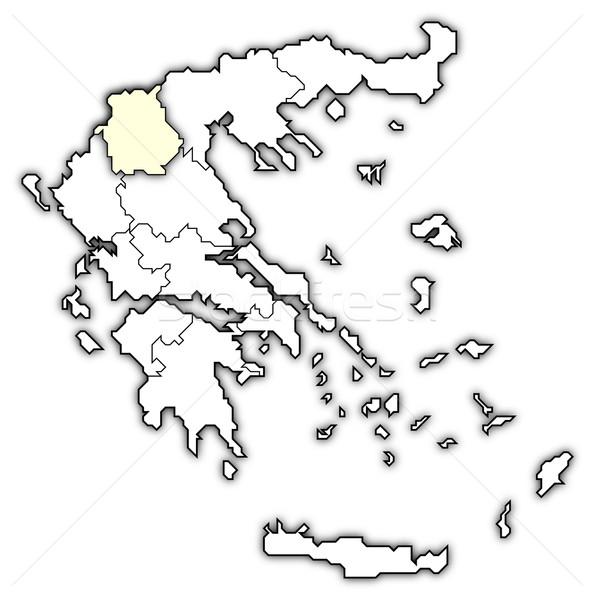 Сток-фото: карта · Греция · Запад · Македонии · политический · несколько