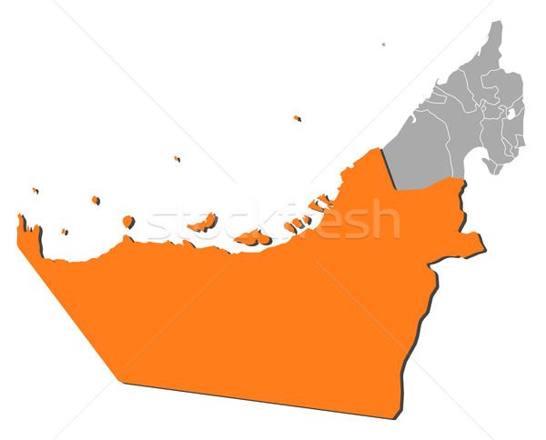 Harita Birleşik Arap Emirlikleri Abu Dabi siyasi birkaç soyut Stok fotoğraf © Schwabenblitz