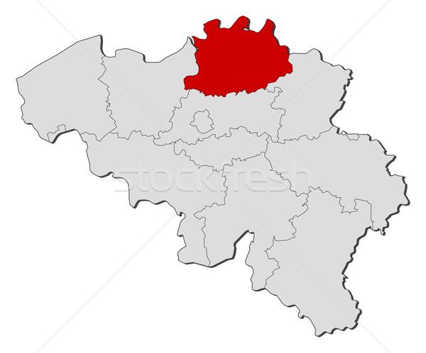 Map of Belgium, Antwerp highlighted Stock photo © Schwabenblitz
