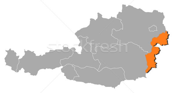 Map of Austria, Burgenland highlighted Stock photo © Schwabenblitz