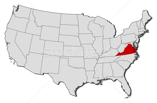 Map of the United States Virginia highlighted vector illustration
