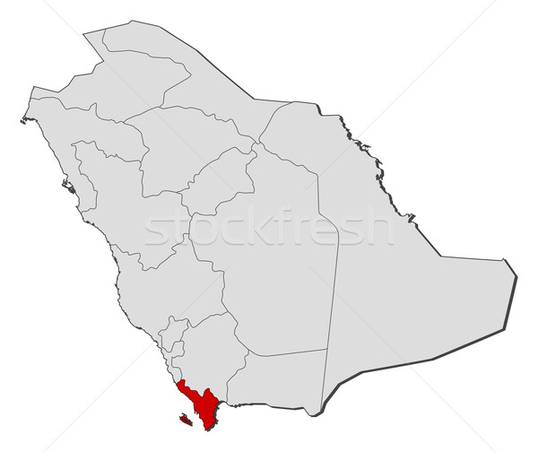 Map of Saudi Arabia, Jizan highlighted Stock photo © Schwabenblitz