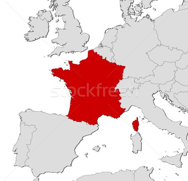 Stock fotó: Térkép · Franciaország · politikai · néhány · régiók · absztrakt