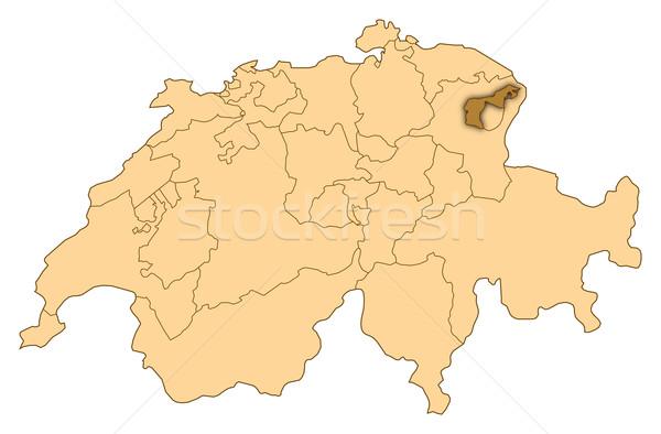 Map of Switzerland, Appenzell Ausserrhoden highlighted Stock photo © Schwabenblitz