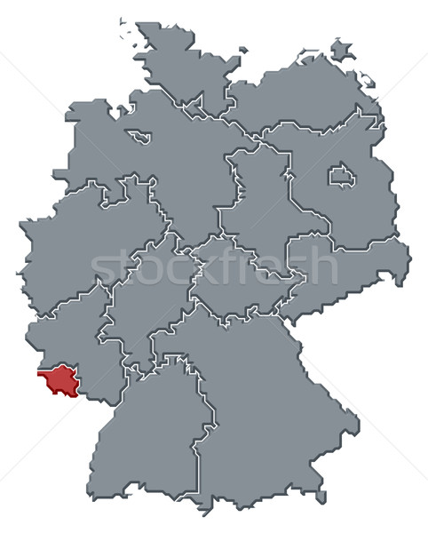 Map of Germany, Saarland highlighted Stock photo © Schwabenblitz