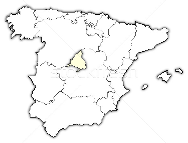 Map of Spain, Madrid highlighted Stock photo © Schwabenblitz
