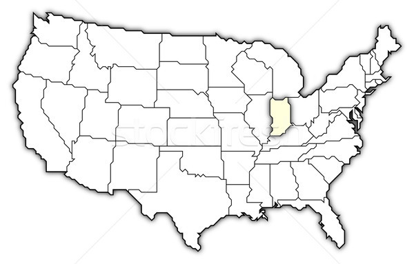 Map of the United States, Indiana highlighted Stock photo © Schwabenblitz