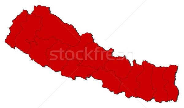 карта Непал политический несколько аннотация Мир Сток-фото © Schwabenblitz