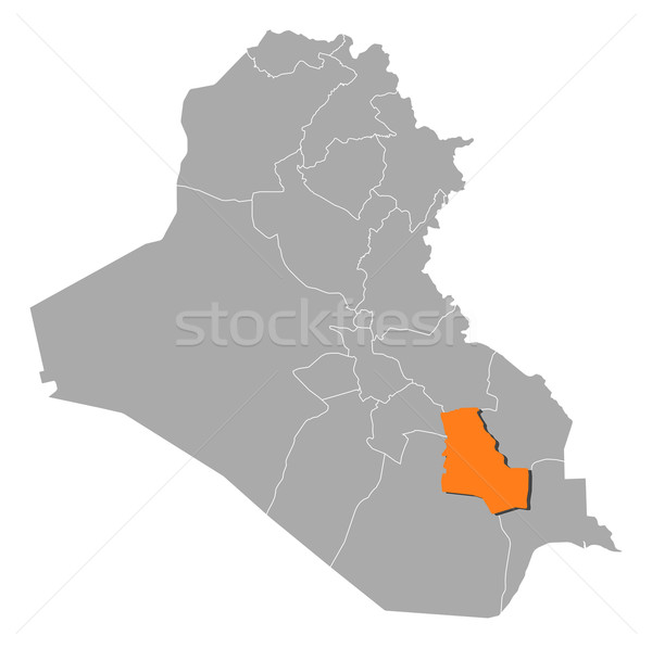 Map of Iraq, Dhi Qar highlighted Stock photo © Schwabenblitz