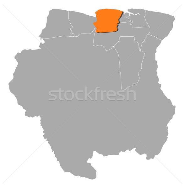 карта Суринам политический несколько аннотация Мир Сток-фото © Schwabenblitz