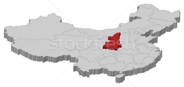 Map of China, Shaanxi highlighted Stock photo © Schwabenblitz