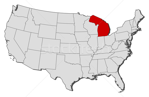 Map Of The United States Michigan Highlighted Vector Illustration - Us map michigan