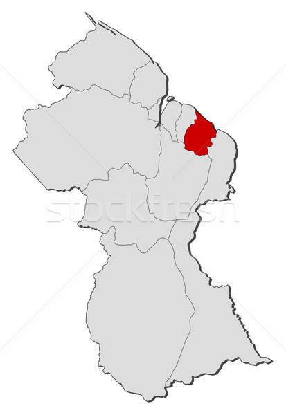 Kaart Guyana politiek verscheidene regio wereldbol Stockfoto © Schwabenblitz