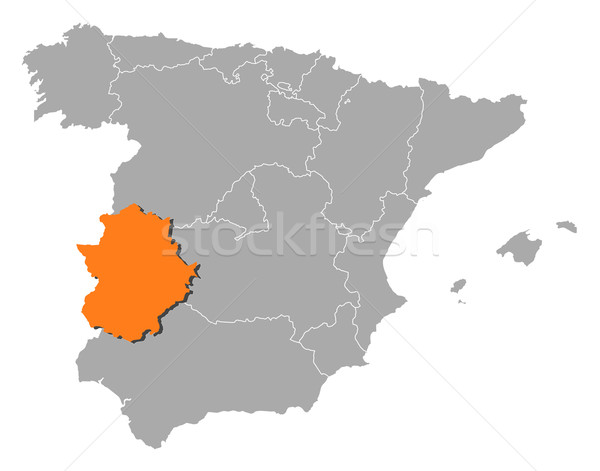 Map of Spain, Extremadura highlighted Stock photo © Schwabenblitz