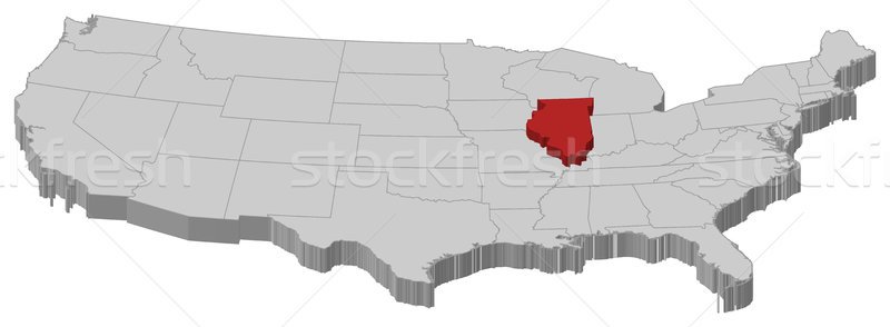 Map of the United States, Illinois highlighted Stock photo © Schwabenblitz