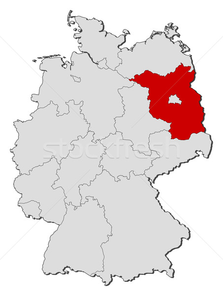 Map of Germany, Brandenburg highlighted Stock photo © Schwabenblitz